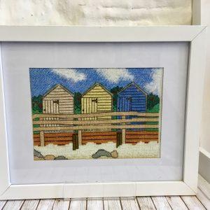 Bude Beach huts cross stitch kit