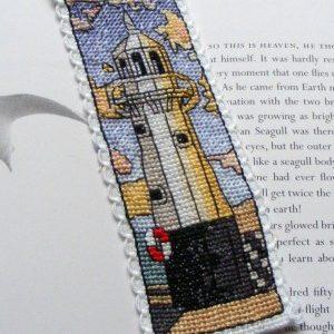 Mevagissey lighthouse cross stitch bookmark