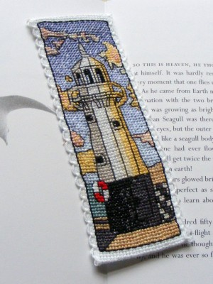 Mevagissey lighthouse cross stitch bookmark