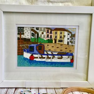 Polperro harbour cross stitch kit