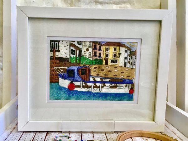 Polperro harbour cross stitch kit