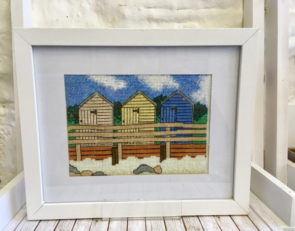 Bude Beach huts cross stitch kit