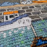 Porthleven harbour cross stitch detail