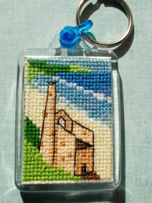 Cornish Tin Mine Cross Stitch Keyring