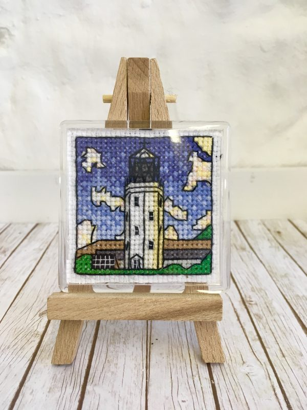 Lighthouse cross stitch magnet