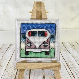 Campervan Cross stitch fridge magnet
