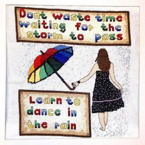 Dance in the rain cross stitch kit