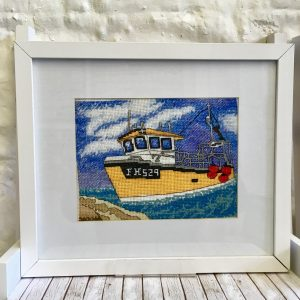 Cornish fishing boat cross stitch kit