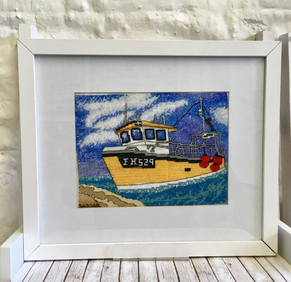 Cornish fishing boat cross stitch kit