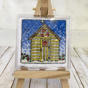 Beach hut fridge magnet cross stitch