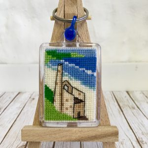 Cross Stitch Keyring of Cornish Tin Mine