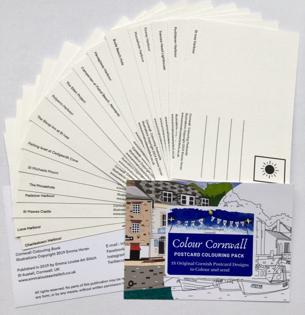 back of Colour Cornwall - Cornwall Colouring Postcards