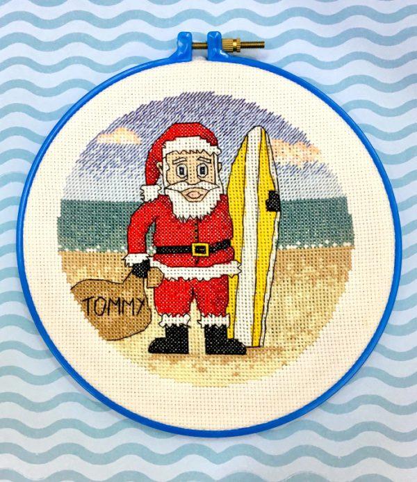 surfing santa cross stitch
