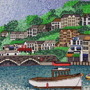 Looe harbour cross stitch kit