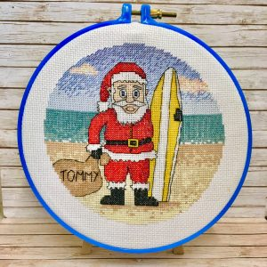 surfing santa christmas cross stitch kit