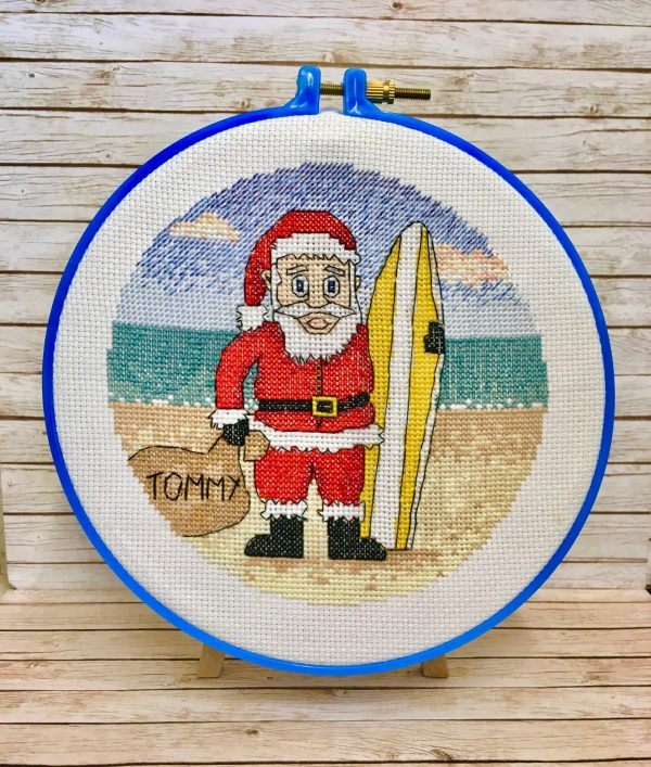 surfing santa christmas cross stitch kit