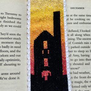 Sunset tin mine Cornwall cross stitch bookmark kit