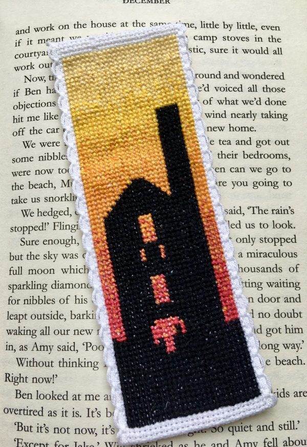 Sunset tin mine Cornwall cross stitch bookmark kit