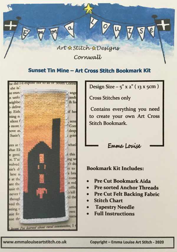 Sunset Tin Mine Cornwall Bookmark Cross Stitch Kit - Counted Cross Stitch Bookmark kit